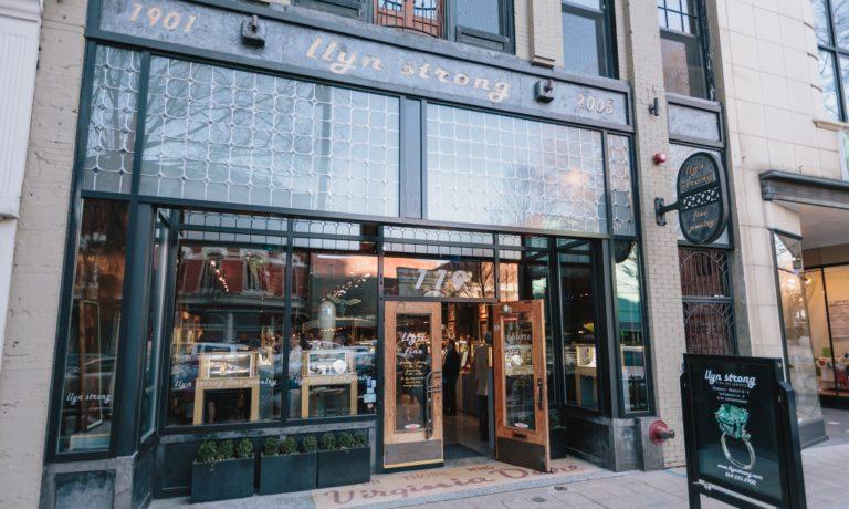llyn strong fine art jewelry storefront in downtown Greenville, SC