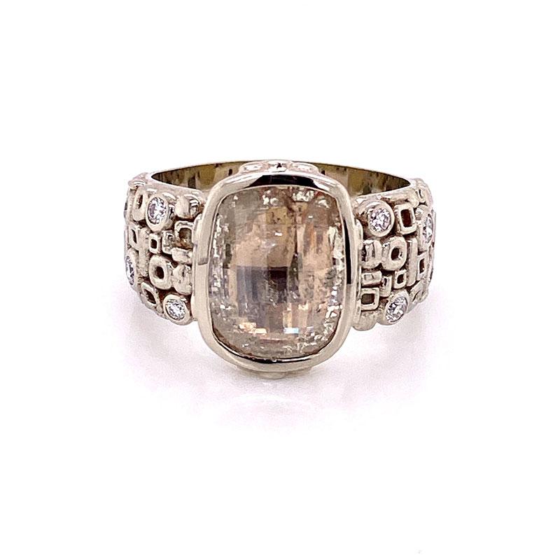 White gold custom wedding ring with 2.41ct rose cut diamond and geometrics shapes on band